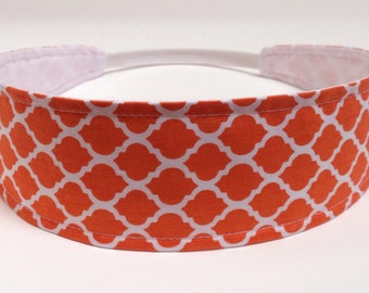 Headband Reversible Fabric   - Orange Quatrefoil, Lattice, Moroccan  -  Headbands for Women - ORANGE QUATREFOIL