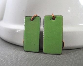 Enameled Earrings, Copper Earrings, Pea Green Copper, Enameled Copper, Avocado Green, Dangle Earrings, Copper Jewelry, Enameled Jewelry