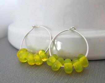 Silver Hoop Earrings, Silver Earrings, Yellow Earrings, Lemon Yellow Glass, Glass Earrings, Beaded Earrings, Sterling Silver