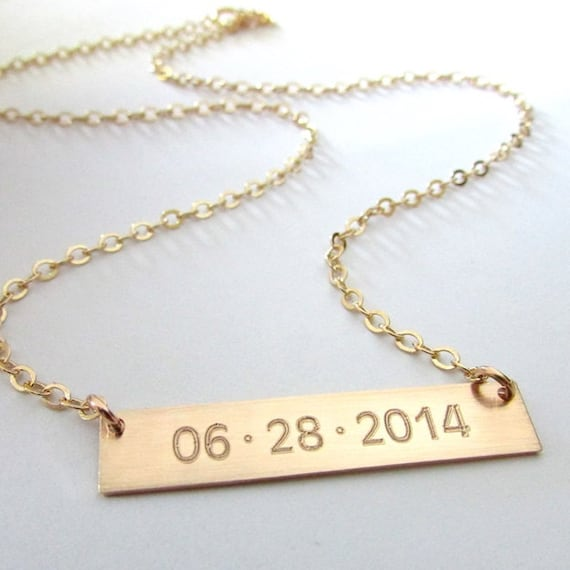 gold bar necklace engraved date necklace memory gold bar