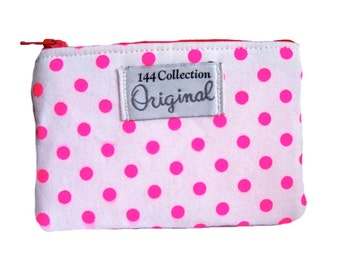 Neon Pink Dots Coin Purse, Pink Change Wallet, Small Neon Change Purse, Coin Pouch, Zipper Pouch, Polka dot Pouch