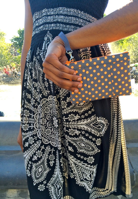 Grey and Neon Orange Polka Dots Wristlet Wallet, IPhone Wristlet, Zipper Wallet, Fabric Wallet, 144 Collection