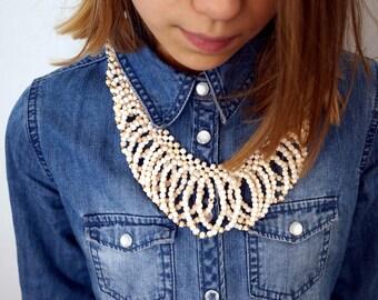 Vintage 70s Shell Necklace Women Accessories Vintage Necklaces Beach Boho Retro Cream Vintage Jewelry Choker Necklaces Statement Necklace