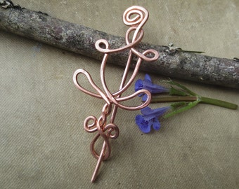 Little Daffodil Flower Copper Shawl Pin, Scarf Pin, Sweater Clip Closure, Fastener, Knitting Accessory, Lace Shawl Pin Accessories, Women,