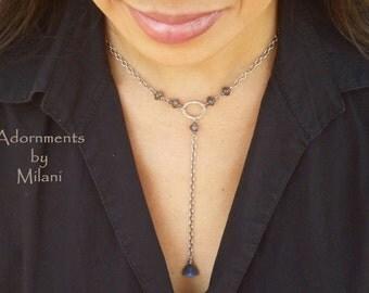 Gray Labradorite Necklace Drop Gemstone Beaded Sterling Silver Matching Set