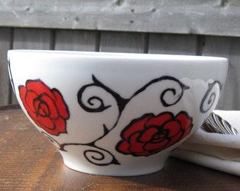 briar rose china bowl - hand painted china - rose and thorns painted china bowl - china soup salad cereal bowl