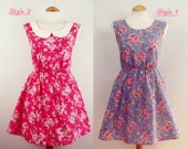 Design your own dress - choose any colour, length, peter pan collar, neckline summer floral cotton
