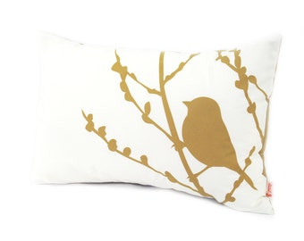 Golden Brown Print on Off White Cotton Bird on Cherry Blossom Pillow