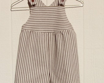 Brown Striped Short Overalls Size 3