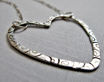 Stamped Open Heart Necklace - Sterling Silver
