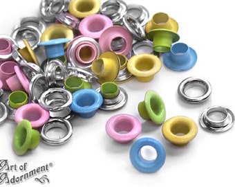 30 Pastel Mix 2-PART METAL EYELETS Grommets Fit 4.8mm Hole 3/16 in. Pink Blue