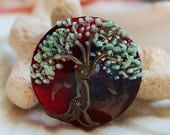 On sale - 45 % off Elizabeth Creations RED TREE spree focal artisan lampwork bead - SRA