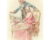 Instant Digital Download Vintage Advertising Postcard French Romantic Couple Valentine