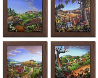 Set Of 4 Framed Ceramic Tile Trivets With Charming Decorative Farm Country Scenes by Walt Curlee