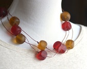 Eco Chic Eco Friendly Amber Red Matte Resin Recycled Telephone Wire Triple-Strand Necklace