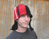 Red Stripe I Curly Flap Fez L-XL Mens red and black merino wool ear flap hat OOAK asymmetric helmet beanie hat upcycled sweater snowboard