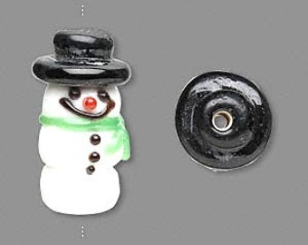 Christmas 3-tiered Snowman Glass Bead Pendant 25x12mm 1 piece