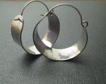 Silver Hoop Earrings - Hammered Stainless Steel (small)