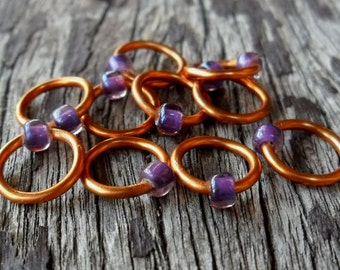 Dangle Free Knitting Stitch Markers Purple Rosaline Copper Wire Choose Ring Size and Quantity