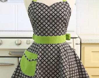Retro Full Apron Sweetheart Neckline Black and White Art Deco Tiles with Green BELLA