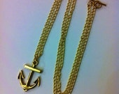 Long Chain Metal Anchor Necklace Silver or Gold