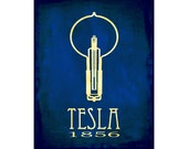 Nikola Tesla 8x10 Steampunk Science Art Print, Rock Star Scientist, Light Bulb Illustration, Alternating Current Technology
