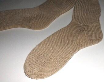 Hand knit socks . Polyester knit socks . Handknit socks . Knit no wool socks . Beige brown socks . Handmade in Canada . Medium socks