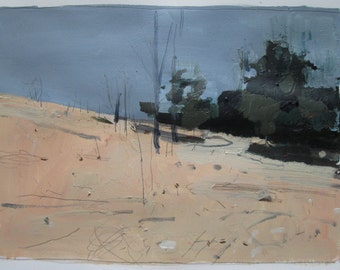 Back Line, Original Landscape Painting on Paper, Stooshinoff