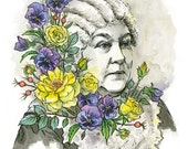 Elizabeth Cady Stanton with yellow roses and purple pansies, suffragette and freethinker - illustration print in multiple sizes