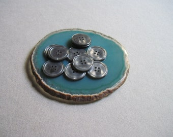 vintage gray buttons shiny set of 10