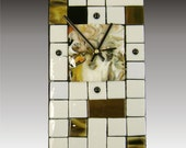 Fused Glass Wall Clock with Pot Melt Face