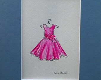Pink Dress Watercolor Childrens Fashion Kids Art Original Painting by California Artist debra alouise