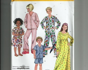 Simplicity Child's Pajamas and Nightgown Pattern 3987