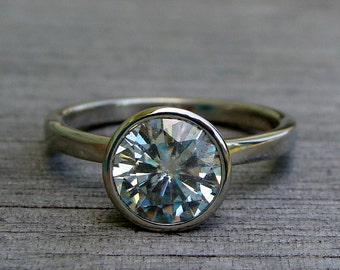 Moissanite Engagement Ring in Recycled 14k White Gold - Forever One G-H-I - with Peekaboo Bezel Setting - Conflict-Free - Made to Order