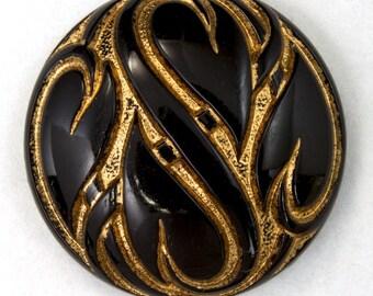 25mm Black and Gold Leaf Cabochon (2 Pcs) #2371