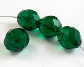 10mm Faceted Emerald Bead (10 Pcs) #2738