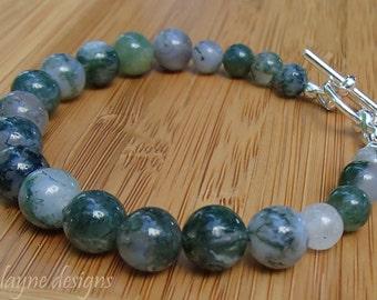 Moss Agate Bracelet. Green Stone Bracelet. Green Chalcedony Bracelet. Earthy Bracelet. Natural Gemstone Bracelet