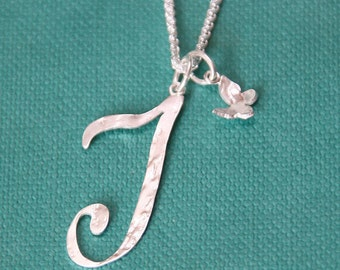 Large personalised initial pendant - Dove