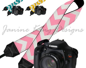 CLEARANCE Chevron Dslr Camera Strap Padded Neck Strap Digital SLR Camera Strap Nikon Canon  - Choose pink teal yellow
