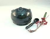 Navy Blue Salt pig holder and spoon - Handmade Ceramic French Salt Cellar Keeper Dish - kitchen prep , Salt dish, sugar bowl
