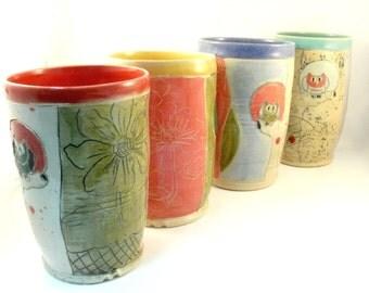 Pencil Holder, School Desk Accessory, Ceramic Teacup or Art Vase, Toothbrush Holder Art Vessel - Colorado pottery Desk caddy, pen holder