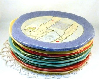 Pottery Plates - Ceramic Dinnerware pottery and ceramics,  Dinner Lunch - Wedding Gift, Artistic + Hand Carved, Bright Colors
