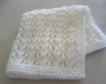 Doll Blanket, Antique White,  Creamy, Hand Knit Doll Blanket/Afghan/Throw, Hand Made, Gift Idea