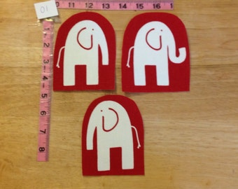 Set of 3 upholstery weight cotton fabric appliqués - elephants on red set #1