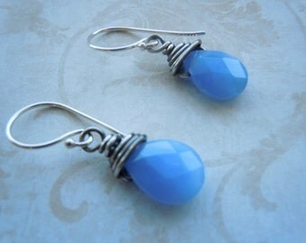 Wire wrapped earrings with Blue chalcedony gemstone
