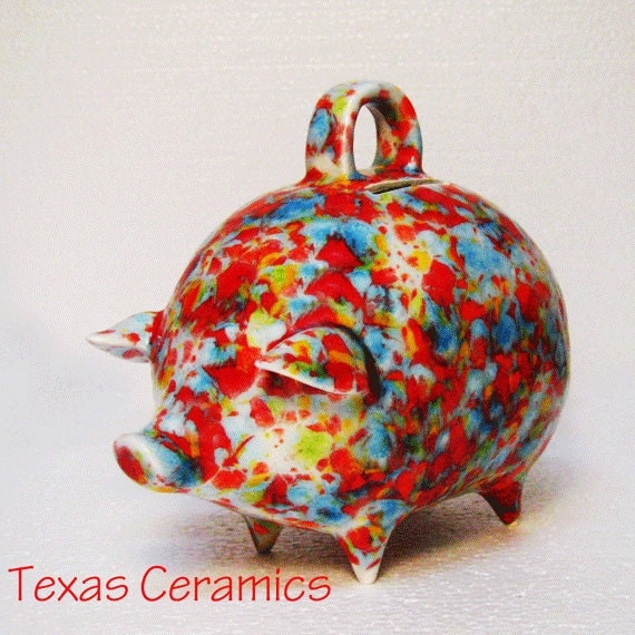 Party Piggy Bank for Coins Round Fat Belly Pig Bank Colors of Red Aqua Blue Yellow Orange Green Confetti Shake or Break Bank