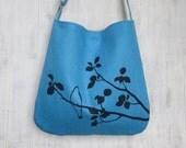 Blue Tote Handbag - Shoulder Messenger Bag for Women - Bird on Tree Screen Printed Hemp Bag - Crossbody Bag - Fabric Tote