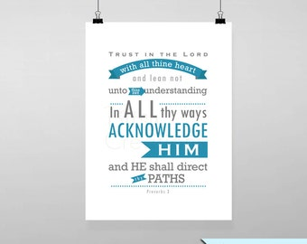 Proverbs 3 Bible Verse Printable Wall Art Instant Download Typography