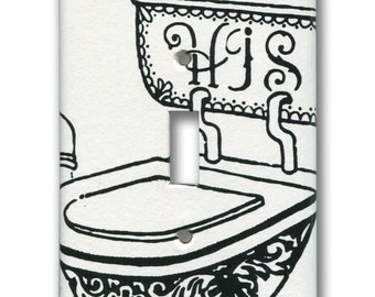 Lovely Loo Bathroom HIS Toilet Single Switch Plate with 1960s Vintage Wallpaper