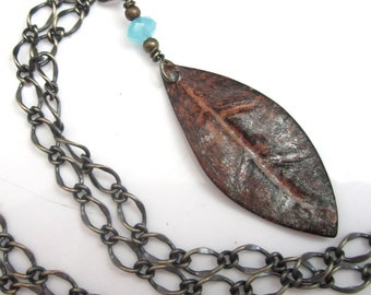 Chunk Brass Chain and Leaf with Chalcedony Necklace
